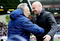 Cardiff City manager Neil Warnock (left) is greeted by Burnley manager Sean Dyche ahead of kick-off<br /> <br /> Photographer Rich Linley/CameraSport<br /> <br /> The Premier League - Saturday 13th April 2019 - Burnley v Cardiff City - Turf Moor - Burnley<br /> <br /> World Copyright © 2019 CameraSport. All rights reserved. 43 Linden Ave. Countesthorpe. Leicester. England. LE8 5PG - Tel: +44 (0) 116 277 4147 - admin@camerasport.com - www.camerasport.com