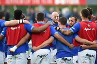 Matt Garvey of Bath Rugby speaks to his team-mates in a pre-match huddle. Pre-season friendly match, between Leinster Rugby and Bath Rugby on August 25, 2017 at Donnybrook Stadium in Dublin, Republic of Ireland. Photo by: Patrick Khachfe / Onside Images