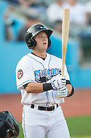 Hunter Lockwood (23) of the Hudson Valley Renegades steps up to the plate during the game against the Brooklyn Cyclones at Dutchess Stadium on June 18, 2014 in Wappingers Falls, New York.  The Cyclones defeated the Renegades 4-3 in 10 innings.  (Brian Westerholt/Four Seam Images)