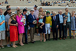 DEL MAR, CA  SEPTEMBER 1: The connections of #9 Vasilika, ridden by Flavien Prat, in the winners circle after winning the John C. Mabee Stakes (Grade ll), on September 1, 2018 at Del Mar Thoroughbred Club in Del Mar, CA.(Photo by Casey Phillips/Eclipse Sportswire/Getty ImagesGetty Images