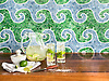 Wimbi, a hand-cut jewel glass mosaic, shown in Mica, Verdite, and Moonstone. Designed by J. Banks Design for New Ravenna.