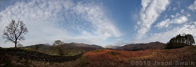 langdale valley panorama, Lake District, Cumbria, UK