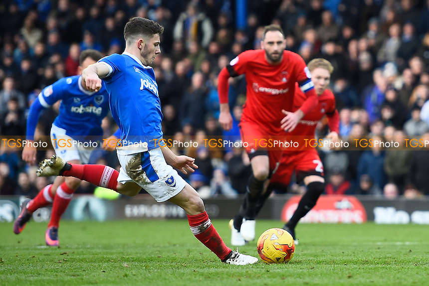 Conor Chaplin of Portsmouth steps up to take a penalty which he missed during Portsmouth vs Leyton Orient, Sky Bet EFL League 2 Football at Fratton Park on 14th January 2017