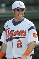 Shortstop Jason Stolz (2) of the Clemson Tigers in a game against the Elon College Phoenix on March 21, 2012, at Fluor Field at the West End in Greenville, South Carolina. Clemson won 4-2, giving head coach Jack Leggett his 1,200th win. (Tom Priddy/Four Seam Images)