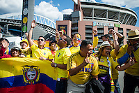 Seattle, WA - Thursday, June 16, 2016: Ecuador fans outside CenturyLink Field where the Quarterfinal of the 2016 Copa America Centenrio was held.