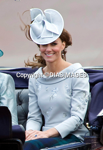 "CATHERINE, DUCHESS OF CAMBRIDGE.TROOPING THE COLOUR_Duke of Edinburgh Makes 1st Appearance since being hospitalised.The event marks the Queen's Official Birthday, The Mall, London_16th May 2012.Photo Credit: ©Dias/DIASIMAGES..**ALL FEES PAYABLE TO: ""NEWSPIX INTERNATIONAL""**..PHOTO CREDIT MANDATORY!!: NEWSPIX INTERNATIONAL..IMMEDIATE CONFIRMATION OF USAGE REQUIRED:.Newspix International, 31 Chinnery Hill, Bishop's Stortford, ENGLAND CM23 3PS.Tel:+441279 324672  ; Fax: +441279656877.Mobile:  0777568 1153.e-mail: info@newspixinternational.co.uk"