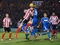 Lincoln City's Luke Waterfall vies for possession with Notts County's Jonathan Stead<br /> <br /> Photographer Andrew Vaughan/CameraSport<br /> <br /> The EFL Sky Bet League Two - Lincoln City v Notts County - Saturday 13th January 2018 - Sincil Bank - Lincoln<br /> <br /> World Copyright &copy; 2018 CameraSport. All rights reserved. 43 Linden Ave. Countesthorpe. Leicester. England. LE8 5PG - Tel: +44 (0) 116 277 4147 - admin@camerasport.com - www.camerasport.com