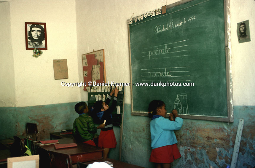A school room in Trinidad, a colonial town in the Province of Sancti Spiritus in 1999. In 1988, Trinidad was declared a World Heritage Site by UNESCO. The literacy rate in Cuba is 94.5%. Prior to the revolution, the literacy rate was 75%.