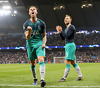 Tottenham Hotspur's Toby Alderweireld (left) and Christian Eriksen celebrate at the final whistle<br /> <br /> Photographer Rich Linley/CameraSport<br /> <br /> UEFA Champions League - Quarter-finals 2nd Leg - Manchester City v Tottenham Hotspur - Wednesday April 17th 2019 - The Etihad - Manchester<br />  <br /> World Copyright © 2018 CameraSport. All rights reserved. 43 Linden Ave. Countesthorpe. Leicester. England. LE8 5PG - Tel: +44 (0) 116 277 4147 - admin@camerasport.com - www.camerasport.com