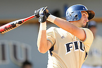 2 March 2008: Florida International third baseman Jorge Castillo (26) hits a double in the bottom of the seventh inning of the FIU 8-3 victory over Wagner  at University Park Stadium in Miami, Florida.