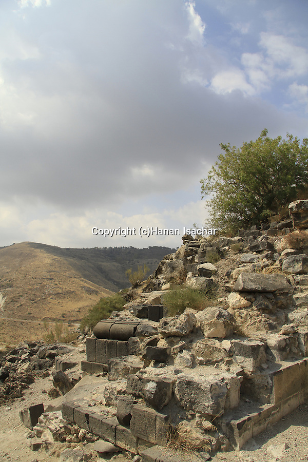 Golan Heights, remains of the southern side of the Roman East Gate of Hippos on Mount Susita