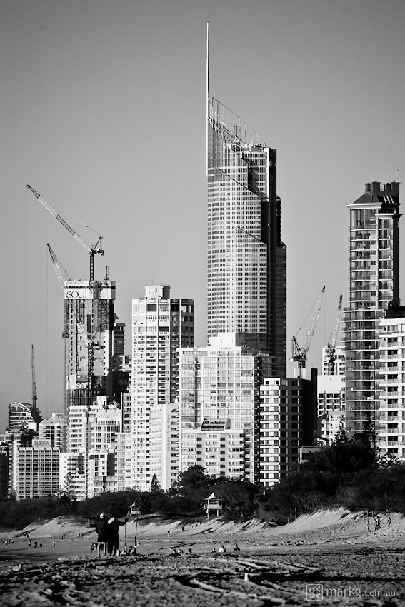 Looking south towards Surfers Paradise with Q1 dominating the skyline - Gold Coast, Australia