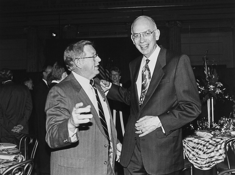 Sen. Conrad Burns, R-Mont., and Sen. elect Bob Bennett at Republican dinner at Union Station on Nov. 12, 1992. (Photo by Laura Patterson/CQ Roll Call via Getty Images)