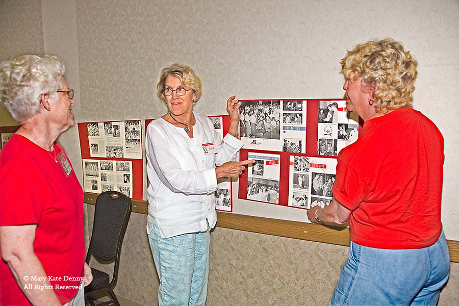 Three alumna from high school decorate for 50th reunion of classmates and friends