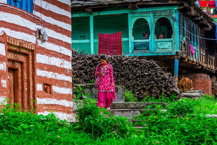 Buildings in Old Manali, Himachal Pradesh, India.
