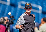 3 April 2017: Miami Marlins catching coach Brian Schneider helps with pre-game drills prior to a game against the Washington Nationals on Opening Day at Nationals Park in Washington, DC. The Nationals defeated the Marlins 4-2 to open the 2017 MLB Season. Mandatory Credit: Ed Wolfstein Photo *** RAW (NEF) Image File Available ***