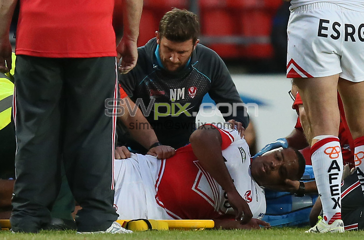 Picture by Paul Currie/SWpix.com - 03/06/2016 - Rugby League - First Utility Super League - St Helens v Warrington Wolves - Langtree Park, St Helens, England - St Helens Jordan Turner receives treatment for a neck injury