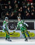 Stockholm 2013-12-30 Bandy Elitserien Hammarby IF - Broberg S&ouml;derhamn IF :  <br /> Hammarbys David Pizzoni Elfving jublar med Hammarbys Stefan Erixon framf&ouml;r Hammarby supportrar<br /> (Foto: Kenta J&ouml;nsson) Nyckelord:  jubel gl&auml;dje lycka glad happy supporter fans publik supporters