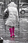 Pink Boots in a spring snowstorm