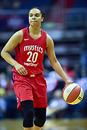 Washington, DC - May 27, 2018: Washington Mystics guard Kristi Toliver (20) brings the ball up court during game between the Mystics and Lynx at the Capital One Arena in Washington, DC. (Photo by Phil Peters/Media Images International)