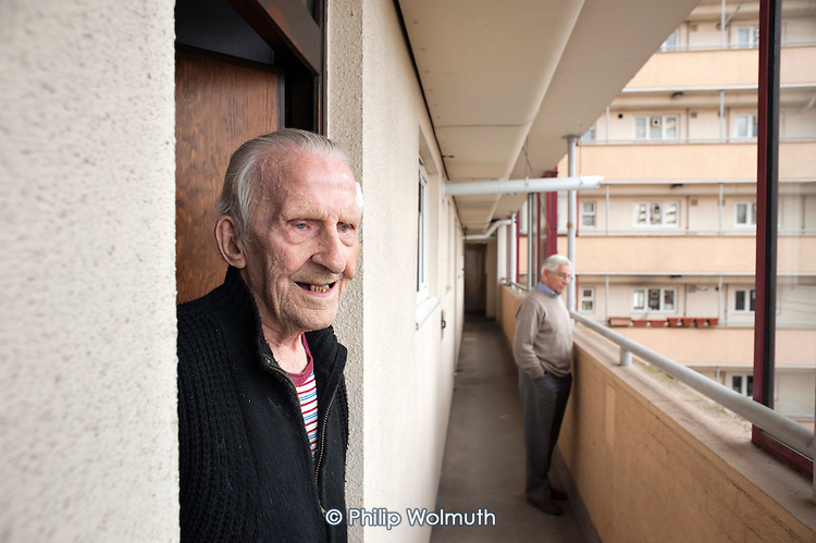 George Phillips (94) has lived in his flat on the Regents Park Estate in West Euston since it was built in 1955, his near neighbour, Stan Passmore (87) since 1961. Their block, Eskdale, will be demolished when work begins on the HS2 high-speed rail line to Birmingham in 2016.