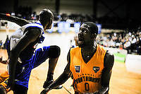 Tarnaki impirt Suleiman Braimon in action during the national basketball league match between Wellington Saints and Taranaki Mountainairs at TSB Bank Arena, Wellington, New Zealand on Friday, 17 June 2014. Photo: Dave Lintott / lintottphoto.co.nz