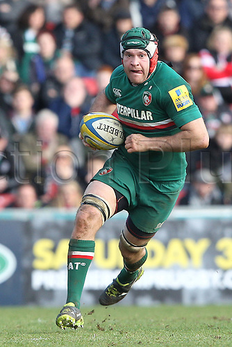 16.02.2014 Leicester, England. Leicesters Julian Salvi on the charge during the Aviva Premiership game between Leicester Tigers and Gloucester Rugby from Welford Road Stadium.