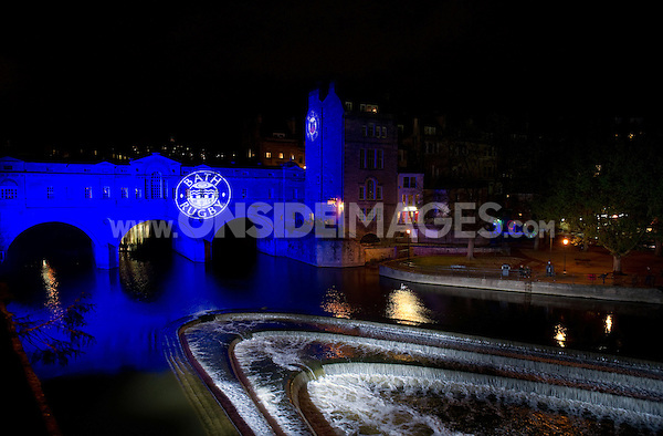 A general view of Pulteney Bridge lit up in Bath Rugby colours. Aviva Premiership match, between Bath Rugby and London Irish on April 24, 2015 at the Recreation Ground in Bath, England. Photo by: Patrick Khachfe / Onside Images