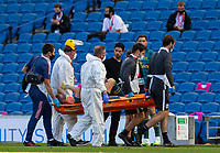 20th June 2020, American Express Stadium, Brighton, Sussex, England; Premier League football, Brighton versus Arsenal ;  Arsenals manager Mikel Arteta checks on goalkeeper Bernd Leno as he is carried off on a stretcher with an injury