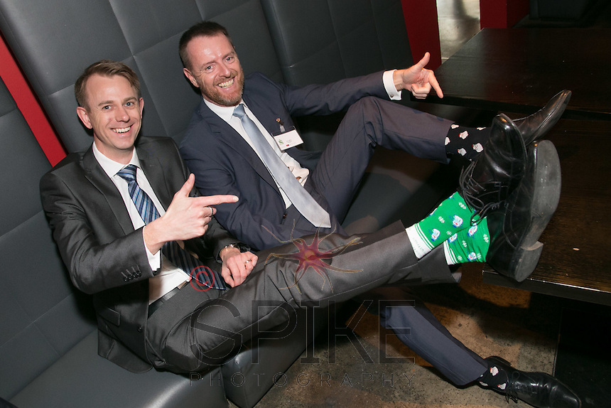 Raising money for Nottinghamshire Hospice via 'Rock Your Socks' are Rob Buckley (left) of DK Rumsby & Co and John Miles of Colligant