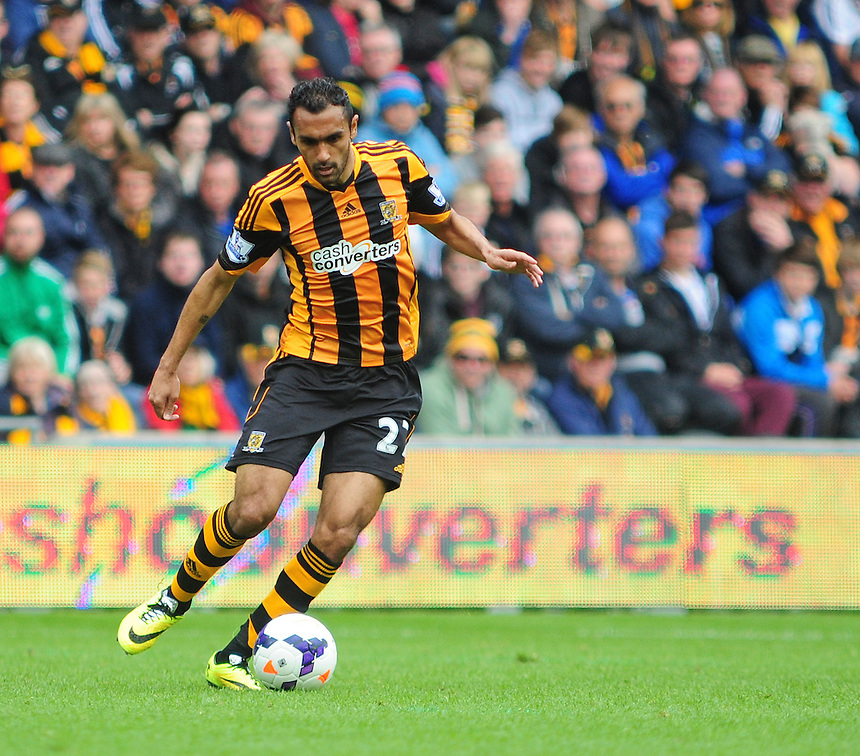 Hull City's Ahmed Elmohamady<br /> <br /> Photographer Chris Vaughan/CameraSport<br /> <br /> Football - Barclays Premiership - Hull City v Everton - Sunday 11th May 2014 - Kingston Communications Stadium - Hull<br /> <br /> &copy; CameraSport - 43 Linden Ave. Countesthorpe. Leicester. England. LE8 5PG - Tel: +44 (0) 116 277 4147 - admin@camerasport.com - www.camerasport.com