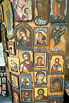 Painted Greek religious icons on display, Rhodes, Greece
