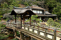 One of Japan's most lavish gardens was first opened to the public in 1904.  It was once the private estate of silk baron Hara Sankei who wanted to share the  beauty by opening up his grounds. Besides Japanese style landscaping, there are numerous tea houses in the garden - such as this one with its unique bridge.