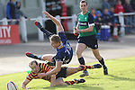 Quins captain Lee Williams forces Leinster centre Steve Crosbie into touch.<br /> British &amp; Irish Cup<br /> Carmarthen Quins v Leinster A<br /> Carmarthen Park<br /> 25.10.14<br /> &copy;Steve Pope-SPORTINGWALES