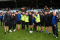Bath Rugby coaches, medics and staff pose for a photo after the match. Gallagher Premiership match, between Leicester Tigers and Bath Rugby on May 18, 2019 at Welford Road in Leicester, England. Photo by: Patrick Khachfe / Onside Images