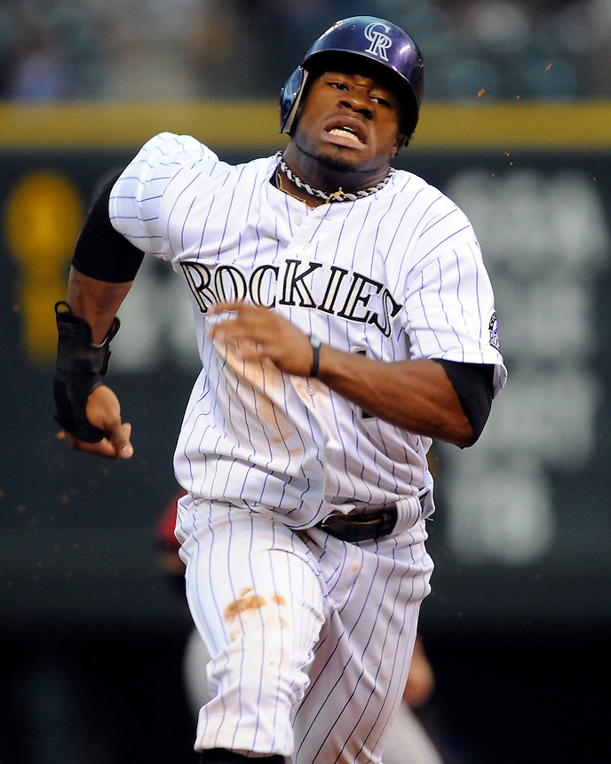 21 AUGUST 2011:  Rockies second baseman Eric Young Jr. (1)    during a regular season game between the Houston Astros and the Colorado Rockies at Coors Field in Denver, Colorado.  The Rockies beat the Astros 9-5.  *****For Editorial Use Only*****