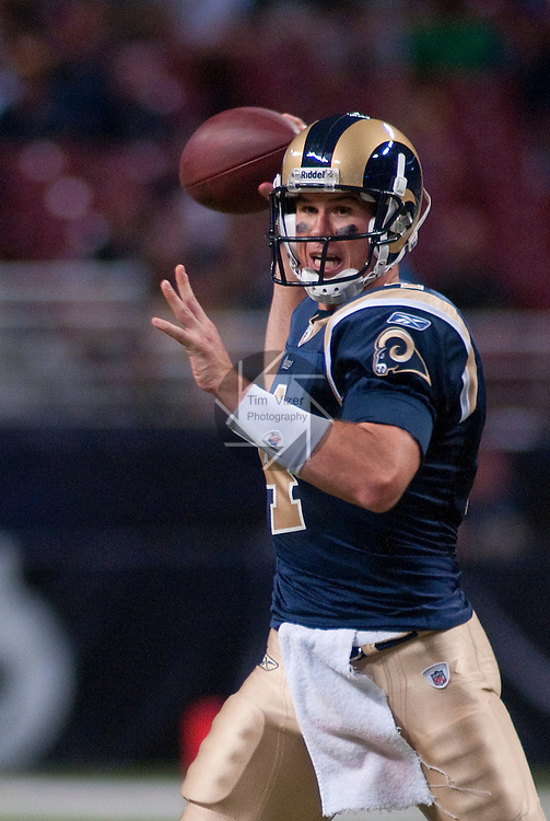13 August 2011                               St. Louis Rams quarterback A.J. Feeley (4) looks for a downfield target in the second half. The St. Louis Rams defeated the Indianapolis Colts 33-10 in a pre-season football game at the Edward Jones Dome in downtown St. Louis, Missouri on Saturday August 13, 2011.