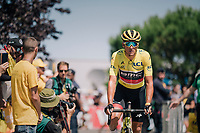 yellow jersey / GC leader Greg Van Avermaet (BEL/BMC) on his way to sign-on<br /> <br /> Stage 4: La Baule &gt; Sarzeau (192km)<br /> <br /> 105th Tour de France 2018<br /> &copy;kramon
