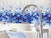 Hex Mist, a waterjet cut jewel glass mosaic, shown in Lapis Lazuli, Iolite, Covelite, Moonstone and Opal Sea Glass™.