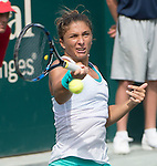 Sara Errani (ITA) loses to Lucie Hradecka (CZE)  6-2, 6-4 at the Family Circle Cup in Charleston, South Carolina on April 10, 2015.