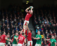 8th February 2020; Aviva Stadium, Dublin, Leinster, Ireland; International Six Nations Rugby, Ireland versus Wales; Jake Ball (Wales) controls the lineout ball