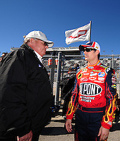 Feb 10, 2008; Daytona Beach, FL, USA; Nascar Sprint Cup Series driver Jeff Gordon (right) talks with team owner Rick Hendrick during qualifying for the Daytona 500 at Daytona International Speedway. Mandatory Credit: Mark J. Rebilas-US PRESSWIRE
