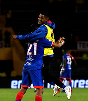 BOGOTÁ-COLOMBIA, 27-01-2019: Jugadores de Deportivo Pasto, celebran el empate con Independiente Santafe al finalizar el partido de la fecha 1 entre Independiente Santa Fe y Deportivo Pasto, por la Liga Aguila I-2019, en el estadio Nemesio Camacho El Campin de la ciudad de Bogotá. / Players of Deportivo Pasto, celebrates the tie with Independiente Santa fe at the end of a match of the 1st date between Independiente Santa Fe and Deportivo Pasto, for the Liga Aguila I 2019 at the Nemesio Camacho El Campin Stadium in Bogota city, Photo: VizzorImage / Luis Ramírez / Staff.