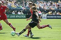 Tina DiMartino kicks the ball. FC Gold Pride defeated Washington Freedom 3-2 at Buck Shaw Stadium in Santa Clara, California on August 1, 2009.