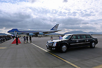 Pictured: Air Force One and the official presidential limousine at the Eleftherios Venizelos Airport in Athens, Greece. Tuesday 15 November 2016<br /> Re: US President Barack Obama state visit to Greece