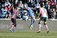 26th January 2020; Coliseum Alfonso Perez, Madrid, Spain; La Liga Football, Club Getafe Club de Futbol versus Real Betis; Jaime Mata (Getafe CF)  mistimes the header