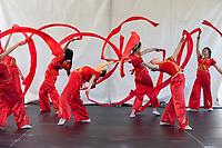 Girls performing Chinese Red Ribbon Dance, Northwest Folklife Festival 2016, Seattle Center, Washington, USA.