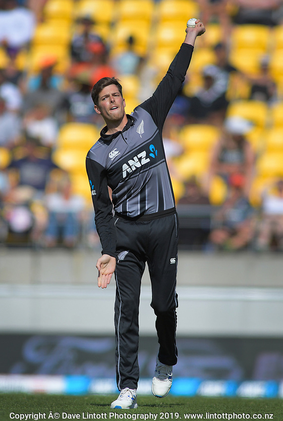 Mitchell Santner. Twenty20 International cricket match between NZ Black Caps and England at Westpac Stadium in Wellington, New Zealand on Sunday, 3 November 2019. Photo: Dave Lintott / lintottphoto.co.nz