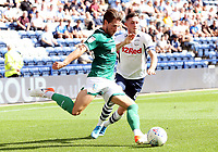 Sheffield Wednesday's Sam Hutchinson clears under pressure from Preston North End's Alan Browne<br /> <br /> Photographer Rich Linley/CameraSport<br /> <br /> The EFL Championship - Preston North End v Sheffield Wednesday - Saturday August 24th 2019 - Deepdale Stadium - Preston<br /> <br /> World Copyright © 2019 CameraSport. All rights reserved. 43 Linden Ave. Countesthorpe. Leicester. England. LE8 5PG - Tel: +44 (0) 116 277 4147 - admin@camerasport.com - www.camerasport.com