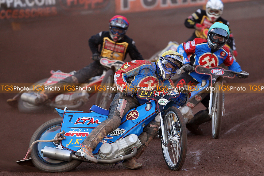 Heat 8: Lubos Tomicek (yellow), Leigh Lanham (green), Andreas Messing (red) and Ben Barker (blue) - Coventry Bees vs Lakeside Hammers at Brandon, Coventry - 21/07/08 - MANDATORY CREDIT: Rob Newell/TGSPHOTO